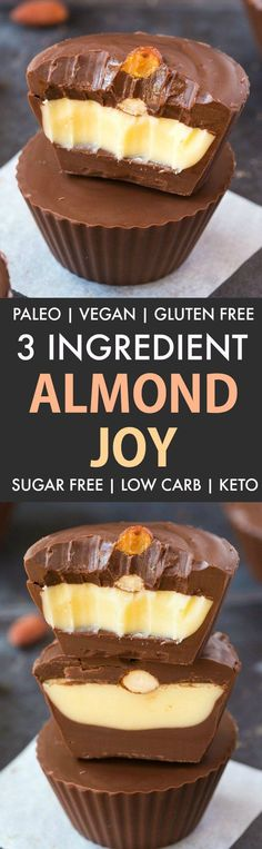 3 Ingredient Homemade Almond Joy (Paleo, Vegan, Sugar Free)- An easy, homemade three ingredient healthy almond joy copycat recipe which is low carb, dairy free and gluten free. Coconut, chocolate and almonds combined! {v, gf, p recipe}- thebigmansworld.com #almondjoy #keto