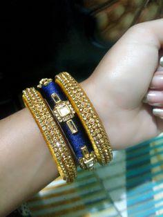 Silk Thread Bangles Design, Silk Thread Necklace, Beaded Necklace Patterns, Thread Jewellery, Jewelry Patterns, Kundan Bangles, Silk Bangles, Bridal Bangles, Diy Earrings Tutorial