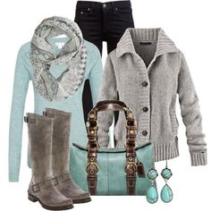 Grey Cardigan and boots/mint top, bag, and earrings/black jeans