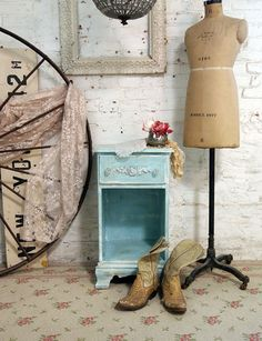 Painted Cottage Chic Shabby Aqua Romantic Night by paintedcottages, $110.00