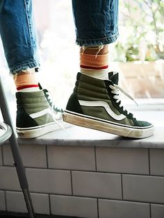 Women's Sneakers : Vans Two-Tone Reissue High Top at Free People. Women's Sneakers : Vans Two-Tone Reissue High Top at Free People. Tenis Vans, Vans Sk8, Vans Sneakers, Vans Shoes, High Top Sneakers, High Top Vans Outfit, Green High Top Vans, High Heels, Winter Sneakers