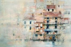 Building facades - John Lovett - Watercolor and mixed media