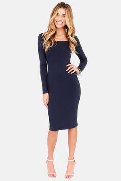 Stuck in the Midi With You Navy Blue Bodycon Dress at LuLus.com! cute with some sparkle accessories and maroon accents #lulus #holidaywear