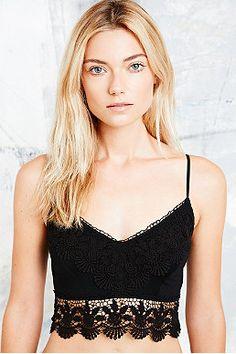Ecote Crochet Trim Bralette in Black