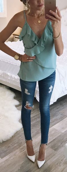 #summer #outfits All The  For This Wrap Tank Top. I Love This Color For Summer. // Mint Ruffle Wrap Top + Ripped Skinny Jeans + White Pumps