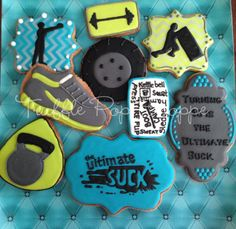 Boot Camp Cookies for 40th Birthday   Cookie Connection