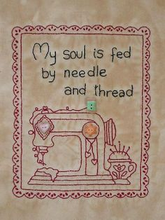 Primitive stitchery embroidery kit called My Soul Is Fed via Etsy