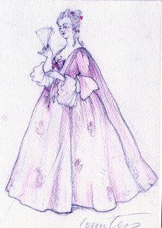 Figaro (Countess). American Repertory Theatre. Costume design by Rita Ryack. 1981