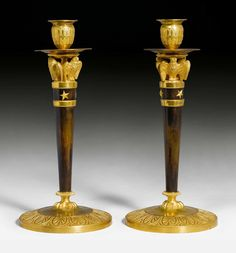 """c1810 PAIR OF CANDLESTICKS """"AUX HIBOUX"""", Empire, from a Paris master workshop, circa 1810. Matte and polished gilt bronze and patinated bronze. H 32 cm. Sold for CHF 6 000 (hammer price)"""