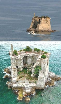 The Scola Tower (Torre di San Giovanni Battista) is a former military building just near Palmaria island in Portovenere, Porto La Spieza Province, Italy Abandoned Castles, Abandoned Mansions, Abandoned Buildings, Abandoned Places, Beautiful Castles, Beautiful Places, House Beautiful, Places To Travel, Places To See
