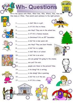 A collection of English ESL Questions: WH questions (open-ended questions) worksheets for home learning, online practice, distance learning and English class. Grammar For Kids, Teaching English Grammar, English Worksheets For Kids, English Lessons For Kids, Kids English, English Activities, Grammar Lessons, English Language Learning, English Vocabulary
