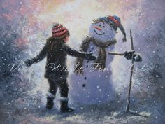 Snowman and Girl Art Print winter paintings by VickieWadeFineArt