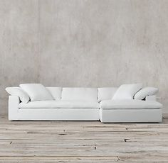 In Army Duck Fabric Fog Or Taupe Color Preconfigured Cloud Track Arm Right Sofa Chaise Sectional Rh The Collection Restoration Hardware