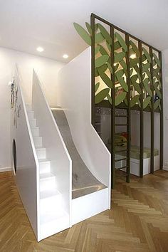 Stairs and Slide Loft Bed.What a great Idea for a kid's room! Bunk Beds With Stairs, Kids Bunk Beds, Cool Beds For Kids, Cool Loft Beds, Safe Bunk Beds, Metal Bunk Beds, Dream Rooms, Dream Bedroom, Teen Bedroom
