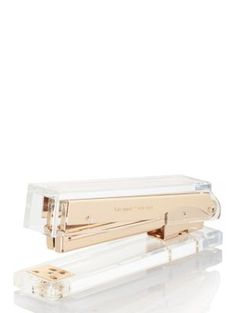 Kate Spade New York Acrylic Stapler, Gold. May the mix of Kate Spade New York's metallic gold and acrylic bring a luxe twist to even the most mundane of tasks. Contemporary Desk Accessories, Gold Office Accessories, Home Accessories, Contemporary Office, Fashion Accessories, Contemporary Kitchens, Modern Desk, Desktop Accessories, Contemporary Furniture