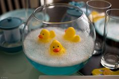 Rubber Ducky Center Pieces (pink water) soo cute! - would be perfect for a baby shower.
