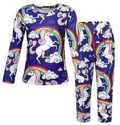 Very pretty little girls unicorn pajama set. MORE different colors and size+++ sets +++AmzBarley Girls Unicorn Pajamas for Kids Long Sleeve PJS . Pretty Little Girls, Girls Pajamas, Pjs, Pajama Set, Wetsuit, Unicorn, Size 12, Colors, Long Sleeve