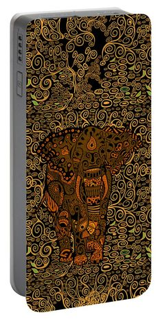 Aztec Elephant With Floral Pattern Portable Battery Charger Available for @pointsalestore #portablebatterycharger #case #aztec #pattern #fullcolor #abstract #art #painting #digitalpainting #floral #animals #elephant #thailandelephant #throwpillow
