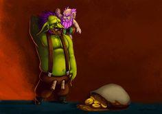 Drawlloween Troll by ArtOfRebornDesign on DeviantArt Un peu en retard pour le #Drawlloween Jour 5 - Better Gnomes & Goblins. Mais le voici fini ! Une petite #illustration d'un gnome disputant un gobelin qui à ramené et mangé des pièces en chocolat ;) Réalisé sous #photoshop #cartoon