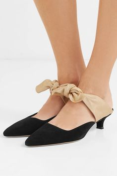 06e0d3822a7 The Row - Coco suede and moire mules