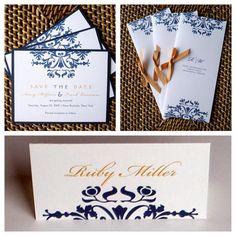 navy and gold wedding invitation Navy blue Wedding Invitation