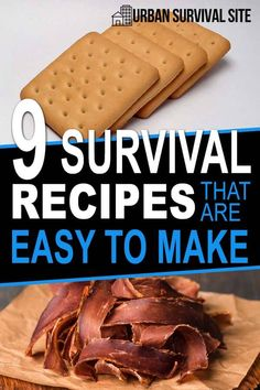 Here are some survival recipes that are nutritious easy to make and have a long shelf life. Hardtack pemmican jerky bitlong bannock peasant bread and more. Emergency Preparation, Emergency Food, Survival Food, Outdoor Survival, Survival Prepping, Survival Skills, Emergency Preparedness, Survival Hacks, Survival Quotes
