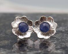 Flower Stud Earrings - Kyanite Earrings - Blue Earrings - Flower Earrings - Silver Flowers - Gemstone Earrings - Blossom Earrings by megangillis on Etsy