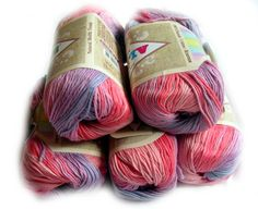 Cotton Baby Yarn: It's a girl. Light Weight, Alize Bella Batik Design in pinks. col. 3676