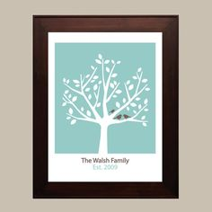 Personalized Family Tree  8x10  Turquoise  by CreativeWildChild, $24.00-our wedding colors, love!