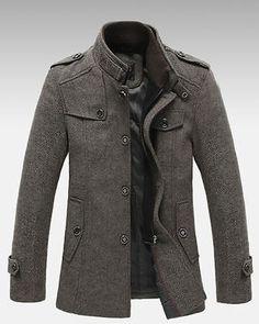 d18177c1f68 New Mens Standing Collar Coats Wool Jackets Warm Fleece Outerwear Gray  Brown Mens Winter Jackets