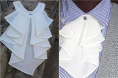 It's an ornamental frill or ruffle that is worn on the front of a blouse,shirt or dress.