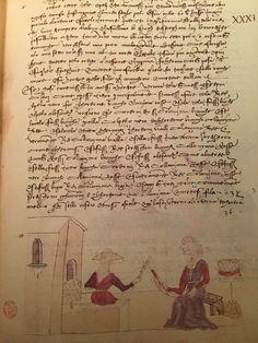 "Trattato dell'arte della seta, cap. 44 c.31r fig. 36 ""Delle orditure"" Firenze, 15th Century, Fig, Spinning, Weaving, Geek Stuff, Textiles, Tools, Think"