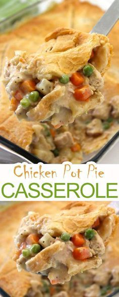 Chicken Pot Pie Casserole that very delicious. Please find detail and step to ma… - Dinner Ideas Easy Pie Recipes, Gourmet Recipes, Crockpot Recipes, Cooking Recipes, Supper Recipes, Hotdish Recipes, Healthy Recipes, Healthy Chicken Pot Pie, Chicken Recipes