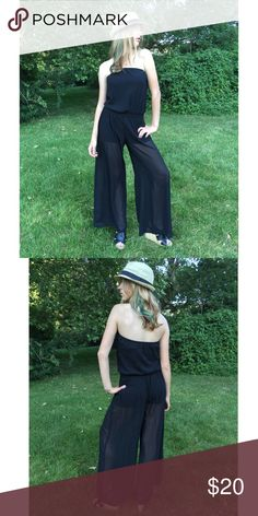 Chiffon Black Jumpsuit Sleeveless black jumpsuit. Chiffon. Sheer legs. Comes with a brown/gold belt not pictured. NWOT. Other