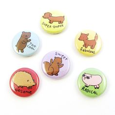 Awesome Animals One Inch Button Set by sugarcookie on Etsy