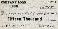 Custom Relief Fund Oversized Checks : Front