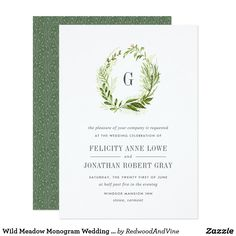 Shop Wild Meadow Monogram Wedding Invitation created by RedwoodAndVine. Monogram Wedding Invitations, Spring Wedding Invitations, Wedding Invitation Cards, Zazzle Invitations, Wedding Reception Food, Wedding Programs, Wedding Events, Color Of The Year 2017, Green Wedding