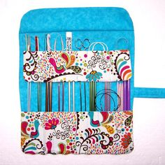 Pink Blue Gold Peacocks Knitting Needle Case, Birds Floral Crochet Hook Storage Organizer, Double Pointed Needle Holder, Artist Brushes Roll