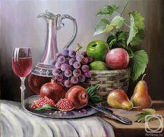 Still life with fruit Emine Doğan Fruit Painting, Bottle Painting, Painting Still Life, House Painting, Still Life Artists, Still Life Fruit, Fruit Photography, Borders For Paper, Fruit Art