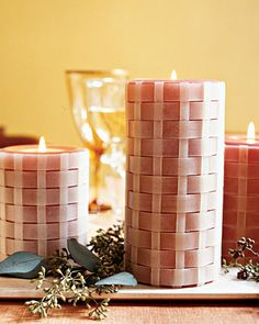 Basket-Weave Candles  Transform basic pillar candles with strips of beeswax and a simple under-and-over weave.  How to Make Basket Weave Candles