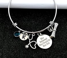 Gift for nurse Graduation gift for medical assistant image 0 Medical Gifts, Nurse Gifts, Nursing Graduation, Graduation Gifts, Women's Bracelets, Bangles, She Believed She Could, Medical Assistant, Birthstone Charms