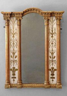 An Early 19th Century Regency Period Eglomisé Border Glass Mirror. Http:// Www