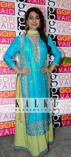 juhi chawla Indian Suits, Indian Dresses, Indian Wear, Designer Punjabi Suits, Indian Designer Wear, Kurta Designs Women, Pakistan Fashion, Asian Fashion