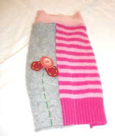 """$34 SMALL felted wool dog sweater with flower """"dogs like art too"""""""