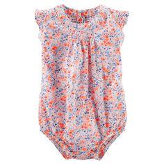 Floral Flutter-Sleeve Bodysuit