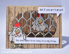 Helen Cryer using the Pop it Ups Oval Accordion, Chicken Wire and Cheepers the Chicken die sets by Karen Burniston for Elizabeth Craft Designs. - The Dining Room Drawers: Pop It Ups Chicken Coop Tent Card Tutorial