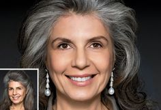 """Rita Hazan's solution: """"The contrast between the gray and the black in Alicia's hair was too stark; the color needed to be better blended. So I wove black lowlights evenly around her temples and gave her a clear gloss to boost shine."""""""