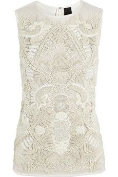 Vera Wang | Embroidered cotton and silk-georgette top | NET-A-PORTER.COM