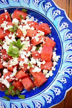 Watermelon, mint and feta salad