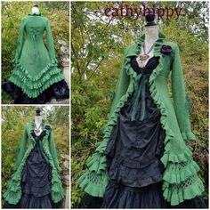 8e6c3835830 Fabulously quirky leaf green asymmetric statement steampunk arty lagenlook  corset bustle frock coat